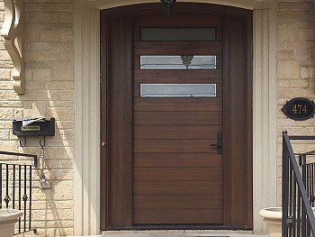 Modern 8 foot custom fiberglass door with shadow grooves flush mount glass and paneled sidelites