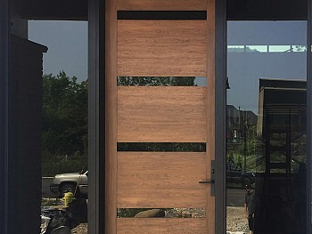 Modern fiberglass door with flush mount clear glass and clear sidelites