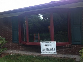 Red bay window by FORHOMES custom window & door company in Mississauga.