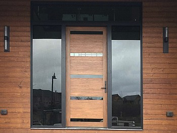 Modern fiberglass door with flush mount clear glass and clear sidelites - wide view
