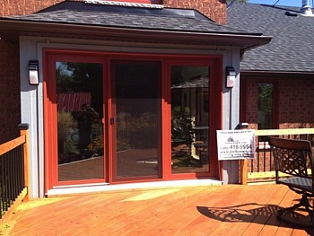 Red painted patio doors Oakville