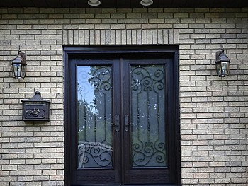 Fiberglass door with Full panel custom glass including Wrought Iron