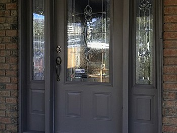 Smooth finish grey fiberglass door 1/2 panel customized glass insert and matching sidelites