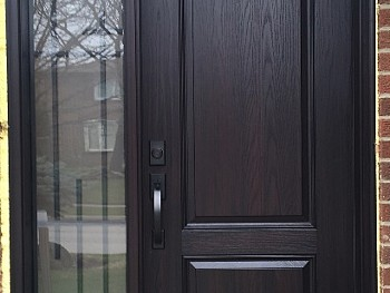 FIBERGLAS DOOR WITH WROUGHT IRON DIRECT SET GLASS