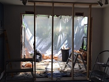 Preparing big opening for patio door