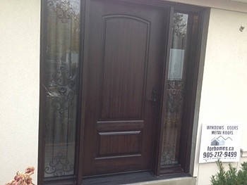 brown wood look fiberglass doors oakville