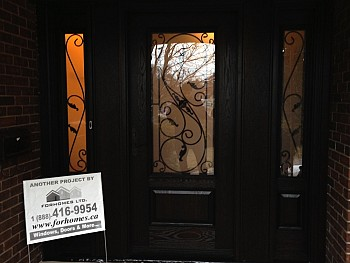 Woodgrain stained fiberglass doors oakville