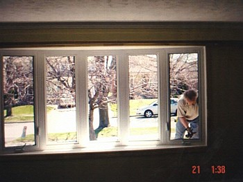 Custom vinyl bow window installation Caledon