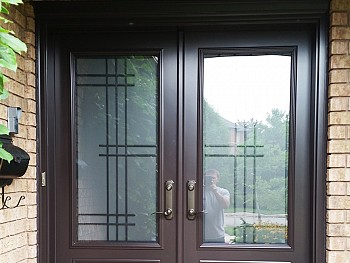 stained fiberglass doors with grid oakville