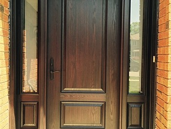 Fiberglass stained door installed in Mississauga